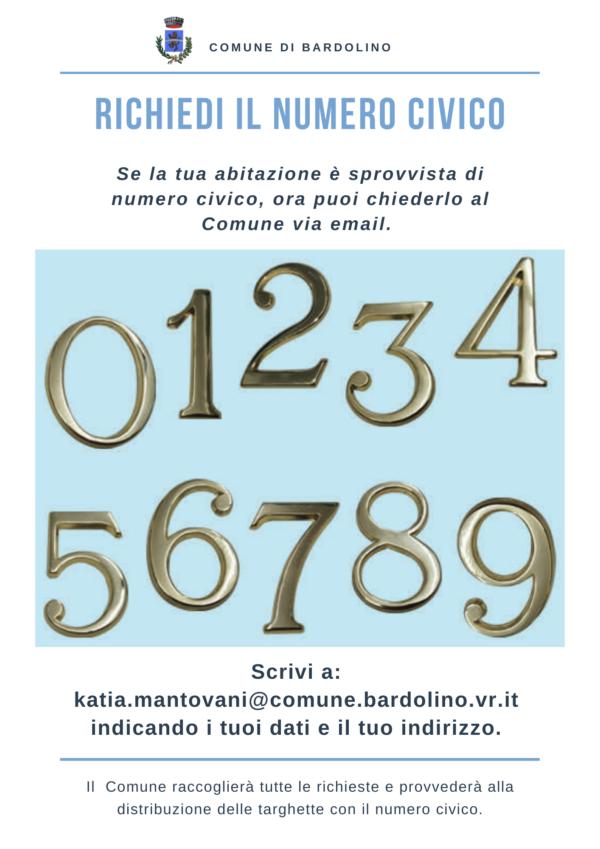 richiedi il tuo numero civico